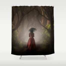 Satin red dress Shower Curtain