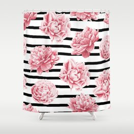 Simply Drawn Stripes and Roses Shower Curtain