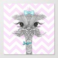ostrich Canvas Prints featuring OsTRICH by Monika Strigel