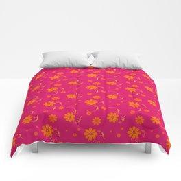 Orange Daisy Flowers on Hot Pink Background Comforters