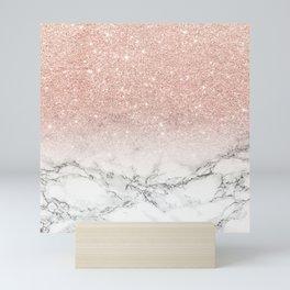 Modern faux rose gold pink glitter ombre white marble Mini Art Print