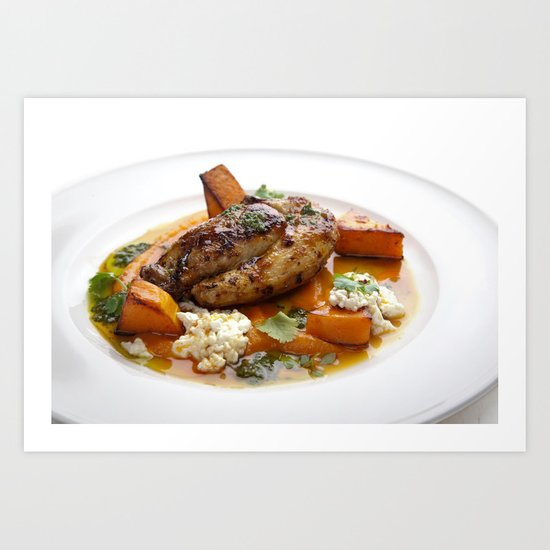 Baby chicken with pumpkin,cottage cheese and coriander pesto Art Print