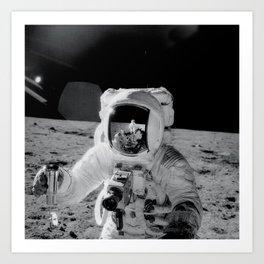 Apollo 12 - Face Of An Astronaut Moon Selfie Art Print
