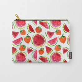 Watercolor watermelon and strawberries fruit illustration Carry-All Pouch