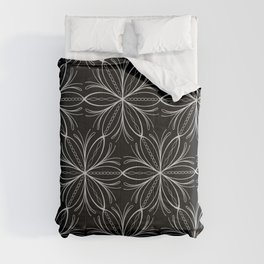Black and White Lacy Floral Pattern Comforters