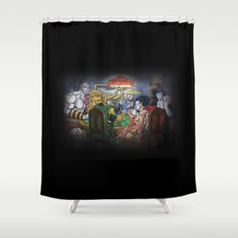 Gods Playing Poker Shower Curtain