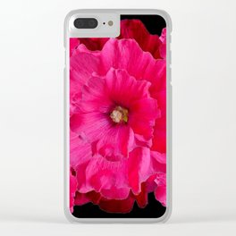 BLACK FUCHSIA-PINK  DOUBLE  HOLLYHOCK FLOWERS GARDEN Clear iPhone Case