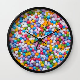 Rainbow Pastel Multicolored Sprinkle Dots Real Candy Pattern  Wall Clock