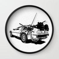 delorean Wall Clocks featuring DeLorean / BW by CranioDsgn