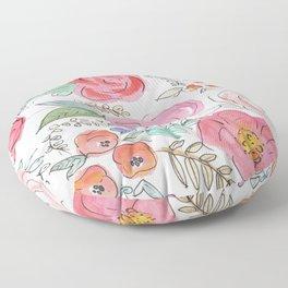 Watercolor Floral Print Floor Pillow