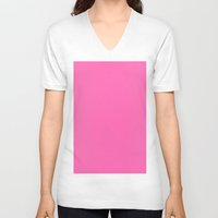 hot pink V-neck T-shirts featuring Hot pink by List of colors