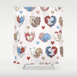 Vector cute animal hug hearts Shower Curtain