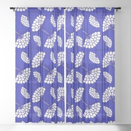 African Floral Motif on Royal Blue Sheer Curtain