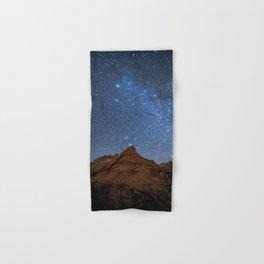 Starry Night: Brilliant Blue Stars Behind Rocky Mountain Hand & Bath Towel