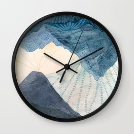 Blue and Yellow Upside Down Landscape Wall Clock