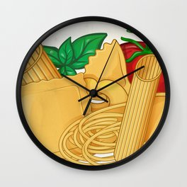 the real italian Pasta food with basil and tomato Wall Clock