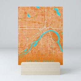 Saint Paul, MN, USA, Gold, Blue, City, Map Mini Art Print