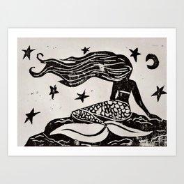 Night Mermaid Art Print