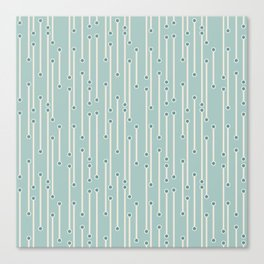 Dotted lines in cream, teal and sea foam Canvas Print
