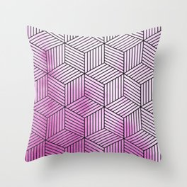 Cubism Lilac Watercolor Throw Pillow