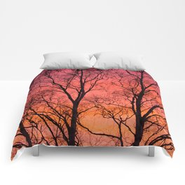 Tree Silhouttes Against The Sunset Sky #decor #society6 #homedecor Comforters