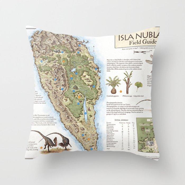 Isla Nublar Field Guide - Jurassic Park map Throw Pillow