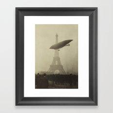 Airship near the Eiffel Tower Framed Art Print