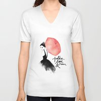 umbrella V-neck T-shirts featuring Polka Rain by Karen Hofstetter