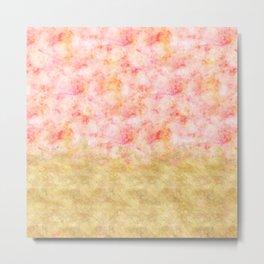 Pretty Pink Gold Glam Watercolor Metal Print
