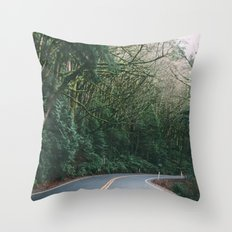 drive through the woods Throw Pillow