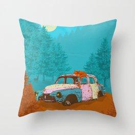 FOX & OLD RUSTY CAR Throw Pillow