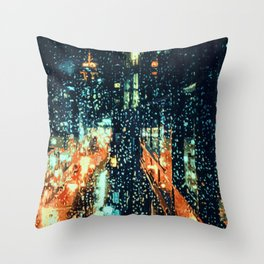 It's raining on the streets of New York City Throw Pillow