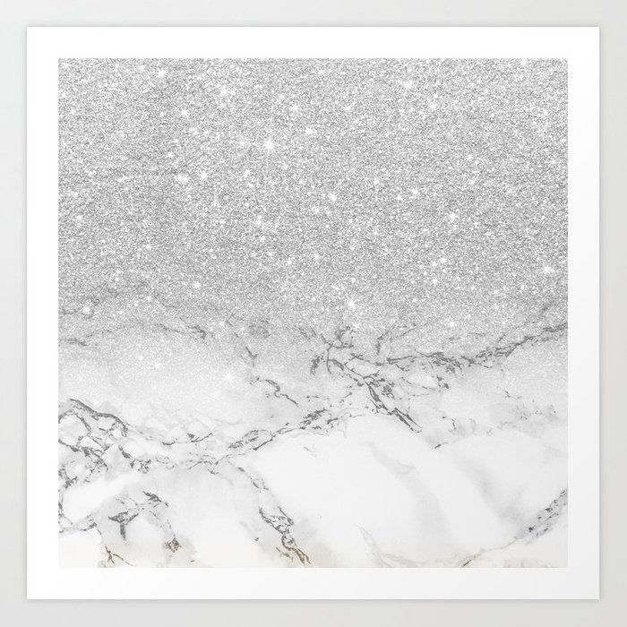 Modern faux grey silver glitter ombre white marble Kunstdrucke