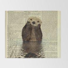 Otter in Love Throw Blanket