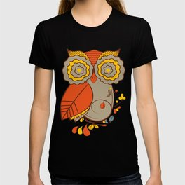 Abstract Colorful Floral Owl, Cute Owl Sticker, Terracotta Colors, Orange Yellow Gray And  Brown T-shirt