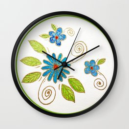 Golden Flowers - Grow where you're planted Wall Clock