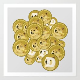 Such coins, so much dogecoins Art Print