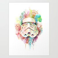 stormtrooper Art Prints featuring Stormtrooper by Veronika Weroni Vajdová