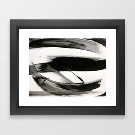 Brushstroke 9: a bold, minimal, black and white abstract piece Framed Art Print