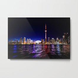 Downtown Toronto, Lake Ontario & CN Tower, Canada cityscape at night Metal Print