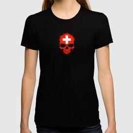 Flag of Switzerland on a Chaotic Splatter Skull T-shirt