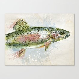 Splashing Rainbow Trout Canvas Print