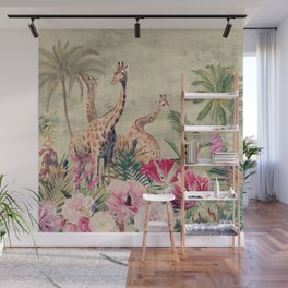 Vintage & Shabby Chic - Tropical Animals And Flower Garden Wall Mural