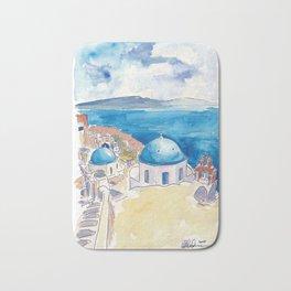 Santorini Oia View Mediterranean Dream Bath Mat