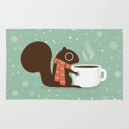 Squirrel Coffee Lover Holiday Rug