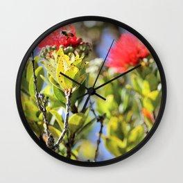 Ohi'a Lehua and her bee Wall Clock