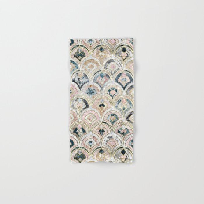 Art Deco Marble Tiles in Soft Pastels Hand & Bath Towel