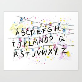 Alphabet Wall Christmas Lights Pattern Art Print