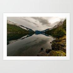 Snow Fog Mountain Olympic National Park foggy forest trees love water blue lake wild travel sky 4 Art Print