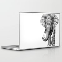 yellow pattern Laptop & iPad Skins featuring Ornate Elephant by BIOWORKZ
